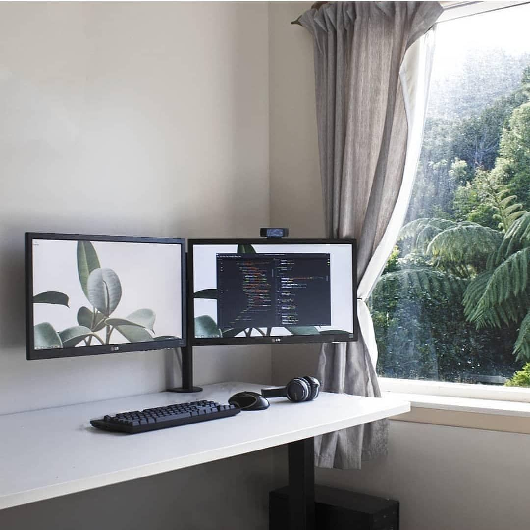 2 Monitor Desktop Computer Setup Desk White Interior With Window