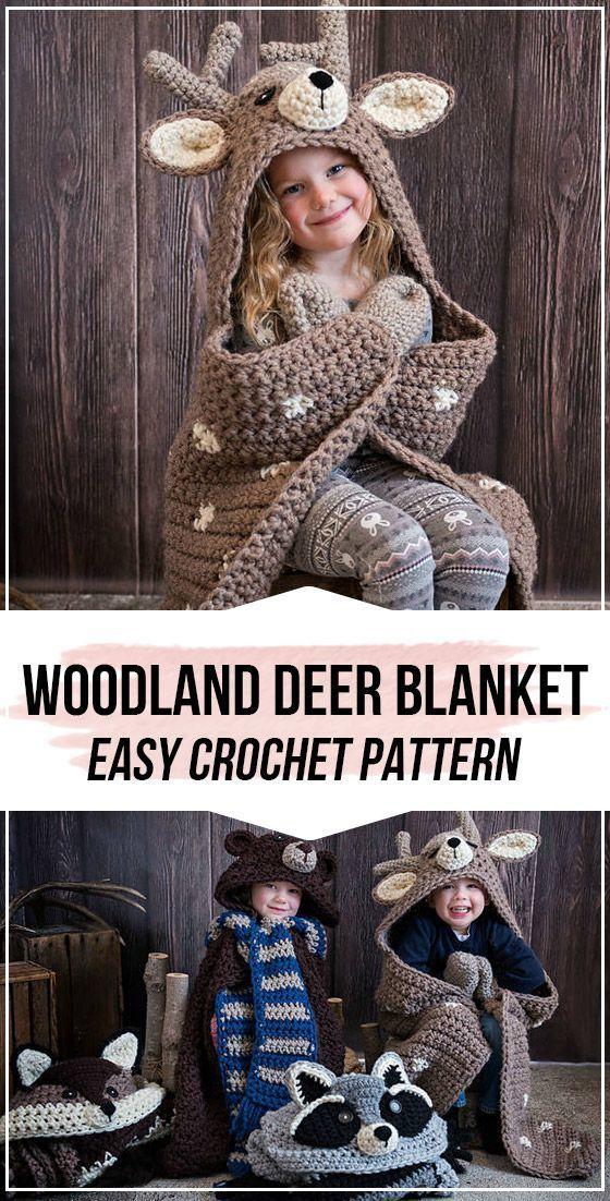 crochet Woodland Deer Blanket pattern #crochet