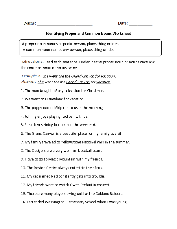 Identifying Proper and Common Nouns Worksheet ...