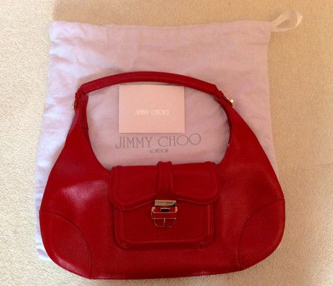 JIMMY CHOO RED LEATHER HARP BAG Whispers Dress Agency