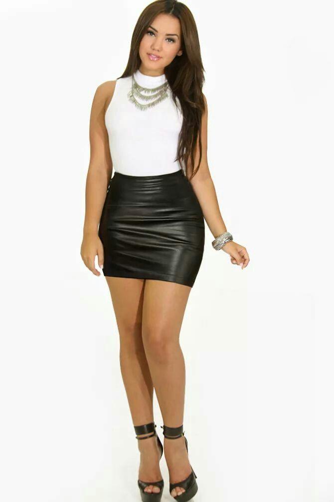 Девушки кожаные мини юбки