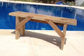 Petit Banc Creole Avec Bois De Chantier Outdoor Decor Picnic Table Decor