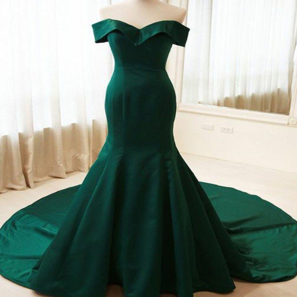 Simple mermaid off shoulder long dark green satin formalevening
