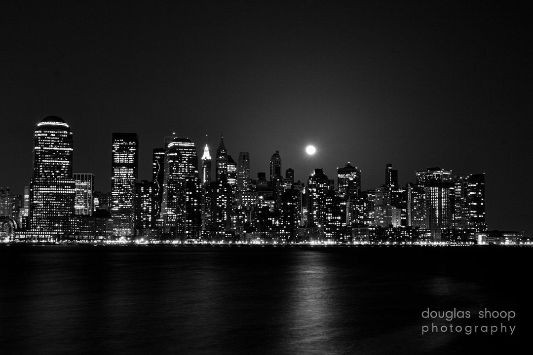 Black And White City Skyline Pixel Desktop Wallpapers
