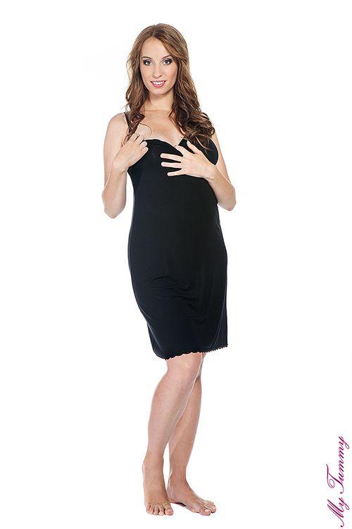 10261addb4ef2f Koszulka ciążowa nocna Cindy czarna | Bielizna ciążowa | Maternity ...