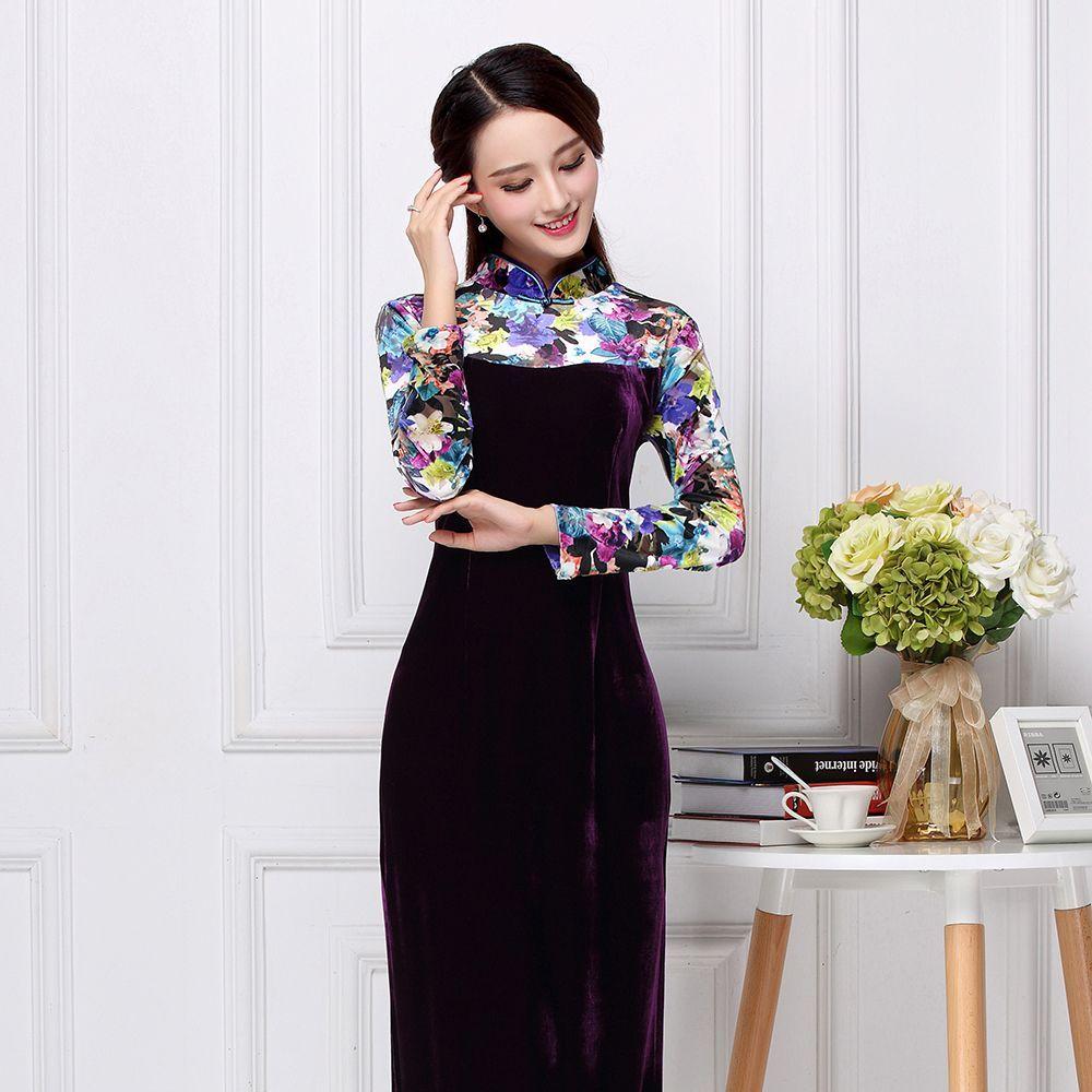 Fetching Velvet Long Chinese Dress Qipao Cheongsam Chinese Long Dress Dresses Chinese Dresses Qipao [ 1000 x 1000 Pixel ]