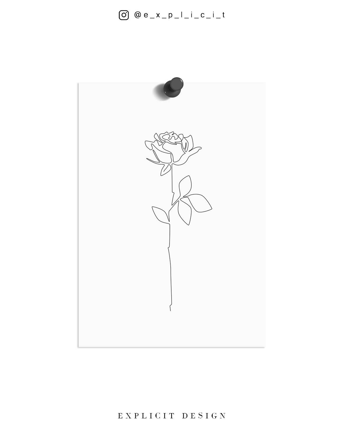 Line Drawing Poster : Rose drawing printable abstract minimalist art thin