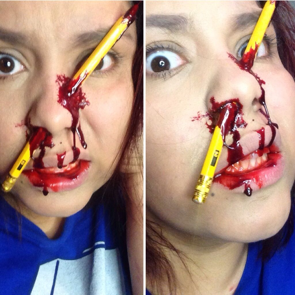 31 Days of Halloween: Pencil Accident | Makeup, Halloween makeup ...