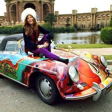 Janis Joplin On Her 1965 Porsche Painted By Dave Richards Janis Joplin Porsche Janis Joplin Porsche Convertible