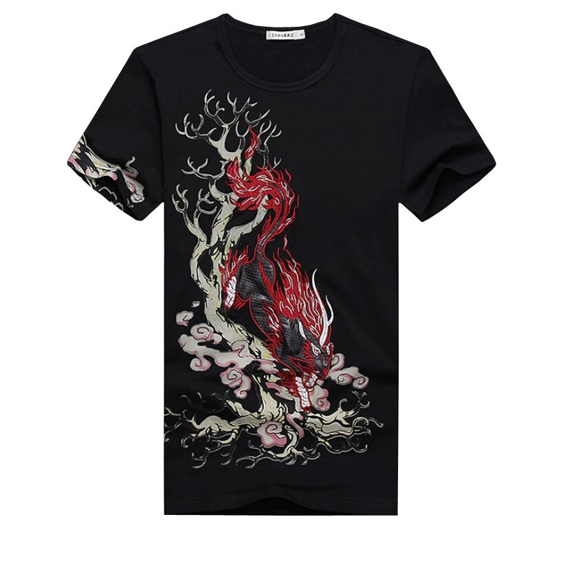 c6e48cee622e Chinese New Style Summer Mens Short Sleeve T Shirt Hot Fashion Printing Mens  T Shirt Slim