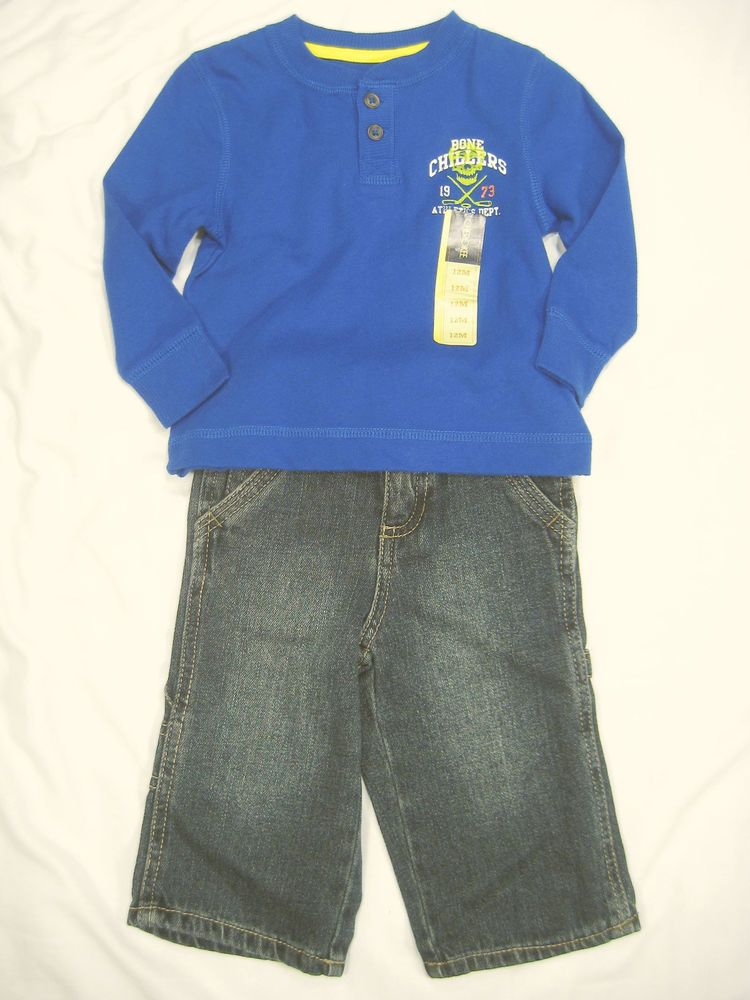 12 Month Boy Clothes Outfit Jeans Long Sleeve Top Blue 2 pc Set Cherokee NEW NWT #Cherokee #Everyday