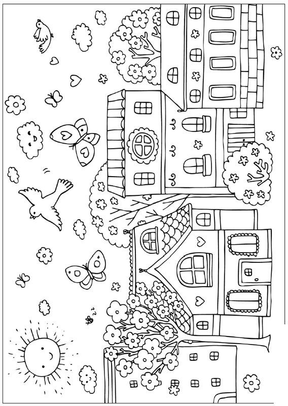 ausmalbild Dorf zum Dekorieren | Malen | Pinterest | Dorf ...
