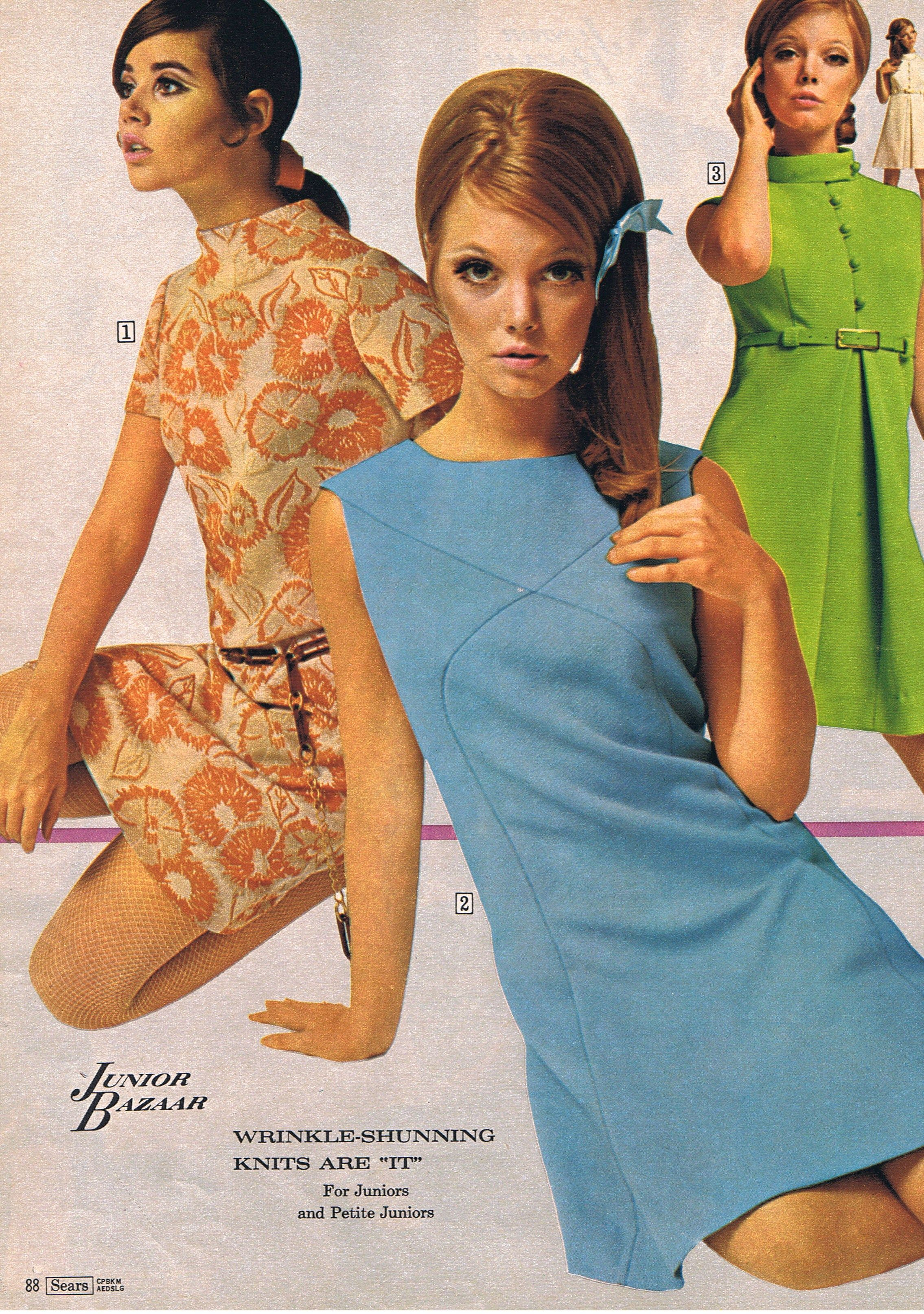 e95f4c22870dd Late 60s simple shift dress mini above knee blue orang floral green solid  print ad models magazine Vintage Fashion  Sears catalog Junior Bazaar