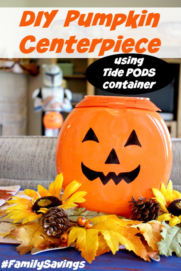 How to make DIY Pumpkin Centerpiece for Halloween using Tide PODS container. Save money on this centerpiece at @familydollar using Smart Coupons! http://freebies4mom.com/familysavings/ #FamilySavings #ad