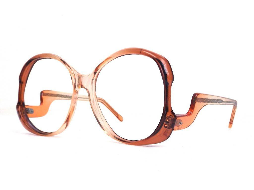 vintage 70s deadstock drop arm eyeglasses oversized frame ombre ...