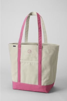 Large Open Top Long Handle Canvas Tote From Lands End With Circle Monogram Initials Perfect Teacher Bag