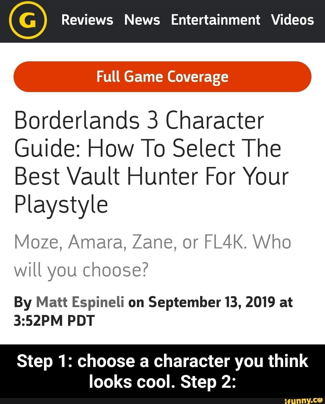 Reviews News Entertainment Videos Borderlands 3 Character Guide How To Select The Best Vault Hunter For Your Playstyle Moze Amara Zane Or Fl4k Who Will Y Entertainment Video Funny Sports Memes Memes