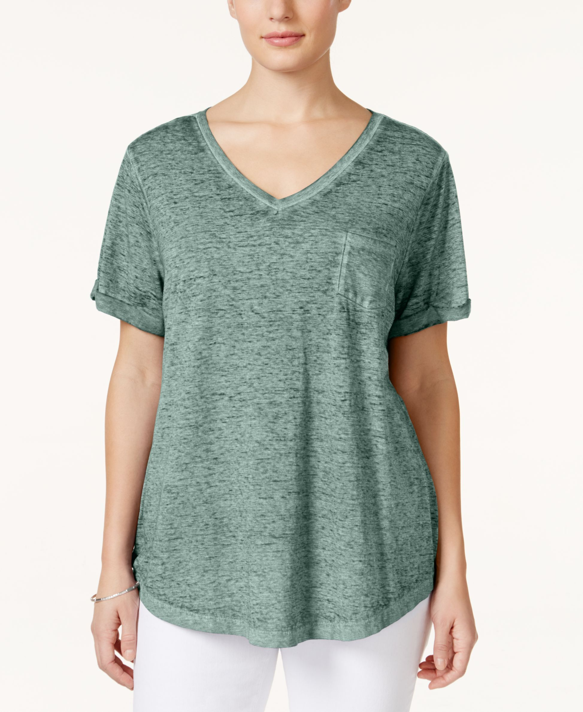 7c5938680 Style & Co Plus Size V-Neck Tee | Products | Pinterest | T shirt, V ...