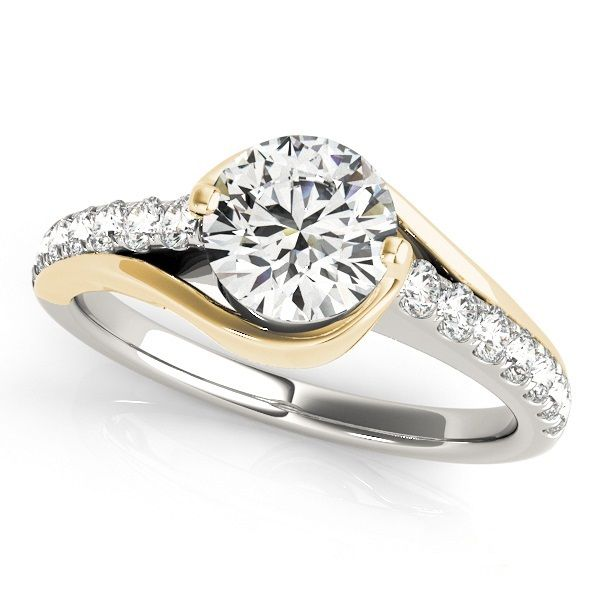 """""""Nicole"""" MODERN DIAMOND ENGAGEMENT RING WITH UNIQUE CURVED DESIGN Round diamond unique curved shank engagement ring"""