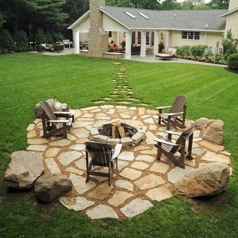 Fire Pit Traditional Patio Providence Conklin Limestone