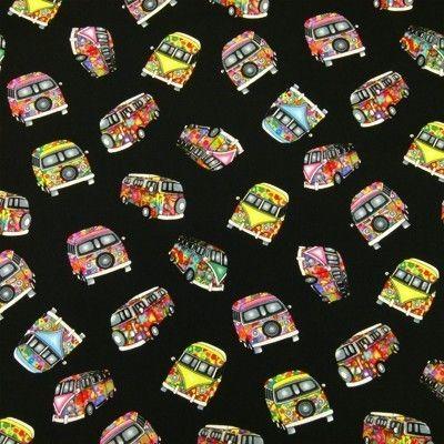 Tela Fat Quarter negra con camionetas multicolor