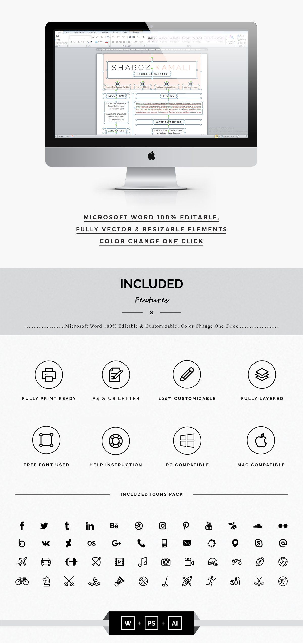 Minimalist Resume 4 Pages Pack , AFF, Paper_Fpalette