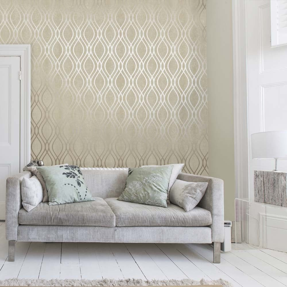 Henderson Interiors Camden Wave Wallpaper Cream Gold Silver