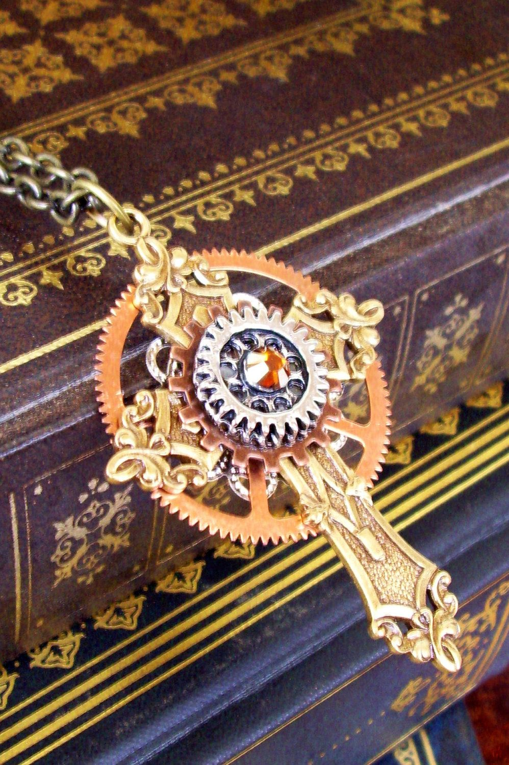 Steampunk cross necklace c22 pendant gothic and for Industrial punk design