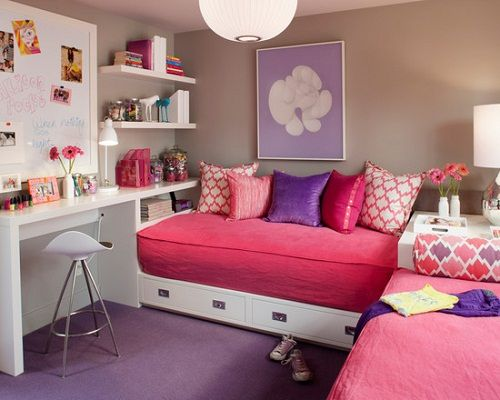 exciting cute teenage girl bedroom ideas | for JR's room? move wipe board above desk?? two twin beds ...