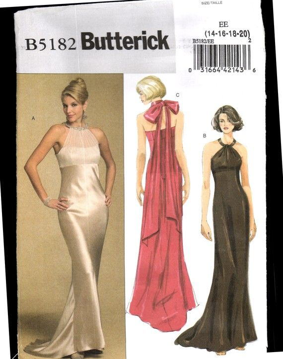 Butterick 5182 Sewing Pattern MIsses Evening, Prom, Bridesmaid Dress ...