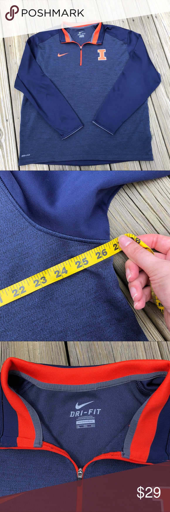 Nike University Of Illinois Sweatshirt Collarless Shirt Sweatshirt Shirt Sweatshirts [ 1740 x 580 Pixel ]