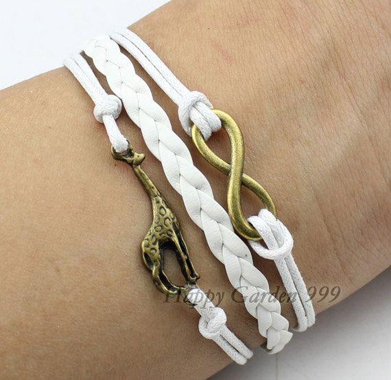 Cute Giraffe Bracelet Infinity Karma By Hygarden999