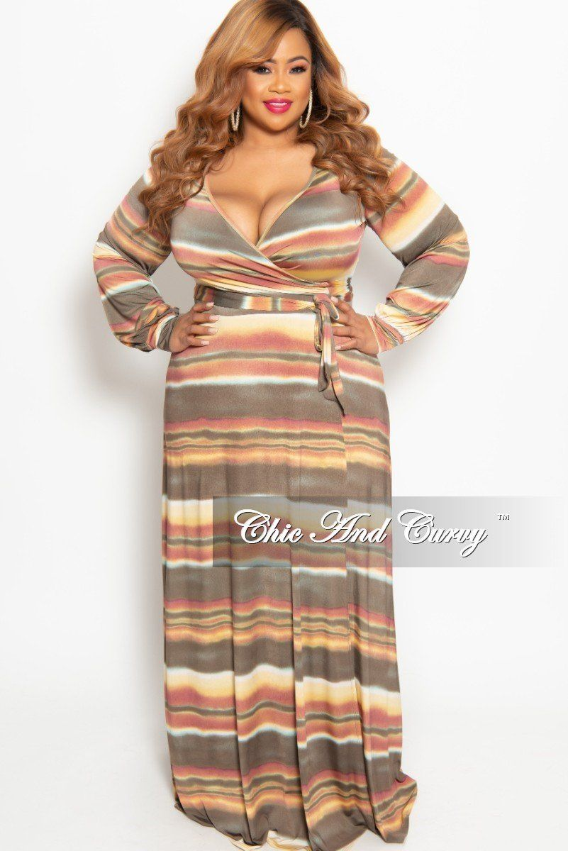 b233c44c2a4 New Plus Size Long Wrap Dress with Tie in Taupe Multi Color Horizontal –  Chic And