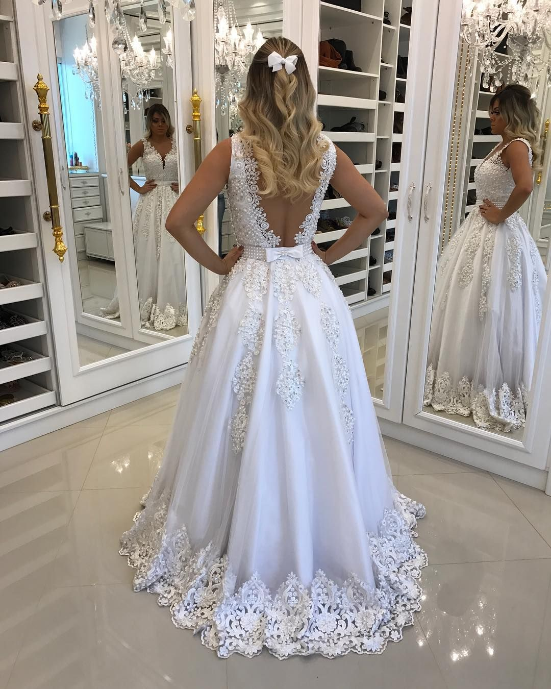 7ac6ca60ad Illusion Back White Pearls Appliques V Neck Formal Dresses ...