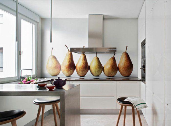 kleine küchen einrichten coole küchenrückwand barhocker | Küche ...
