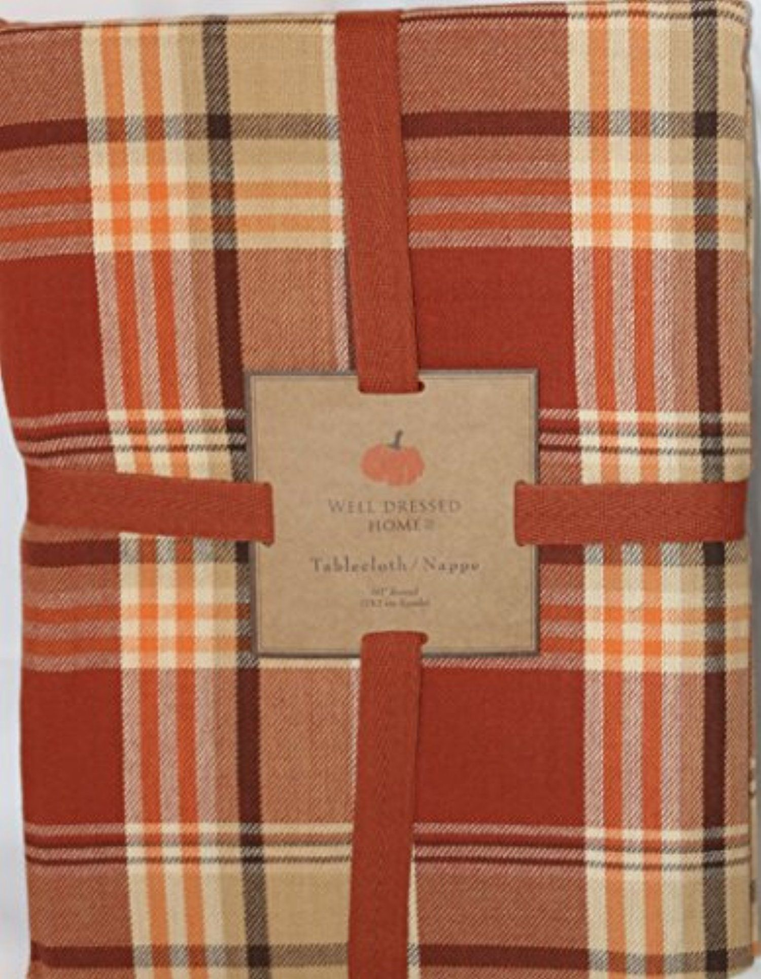 Captivating Well Dressed Home Fall Harvest Plaid Tablecloth 60 In Round Thanksgiving  Autumn Tartan Check