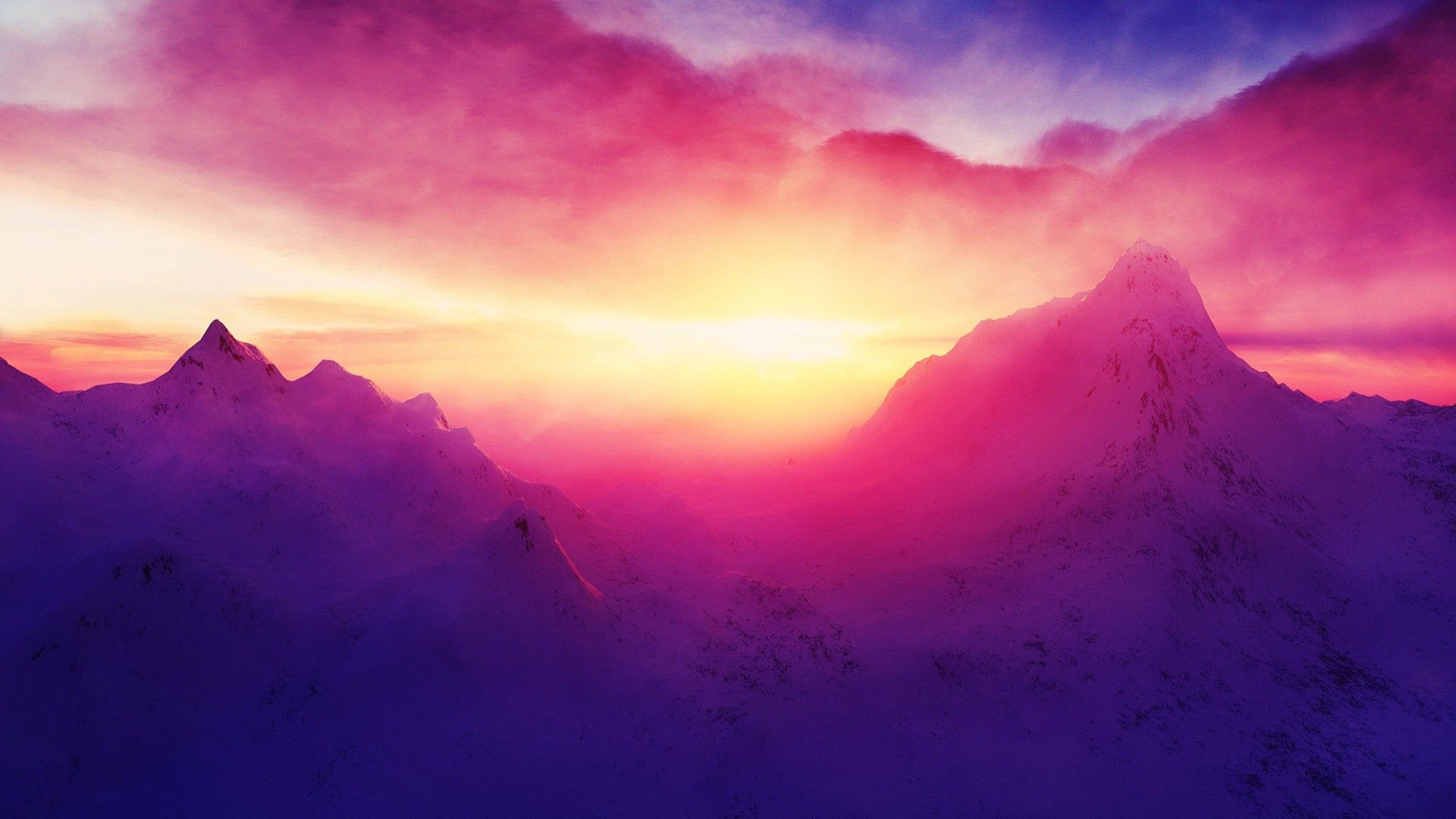 Pink Sunrise Mountains Wallpaper