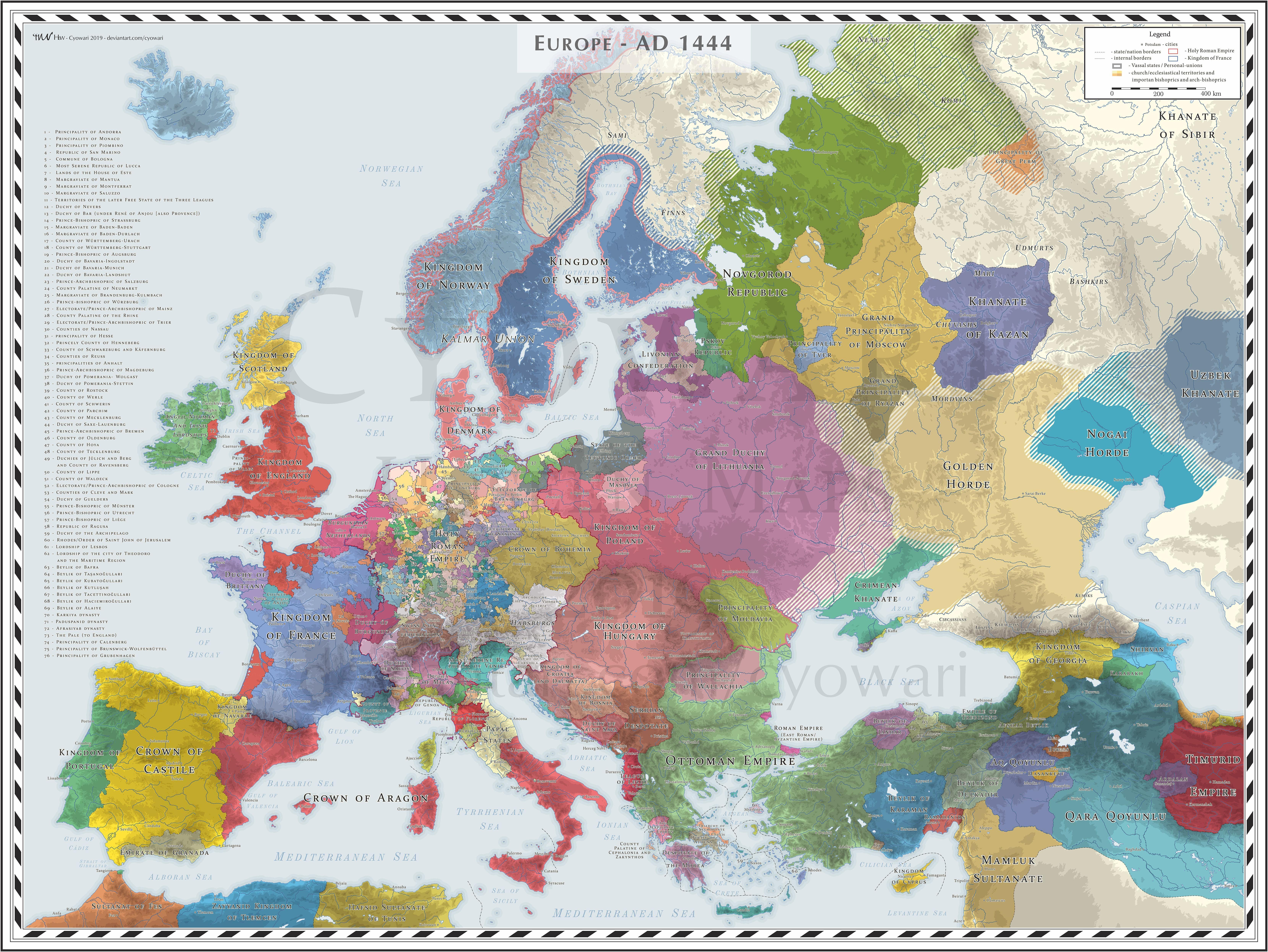 map of europe 1444 Europe (Detailed)   AD 1444   EU4 like Colours | World map europe