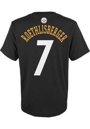 Ben Roethlisberger Outer Stuff Pitt Steelers Kids Name and Number Black Player Tee
