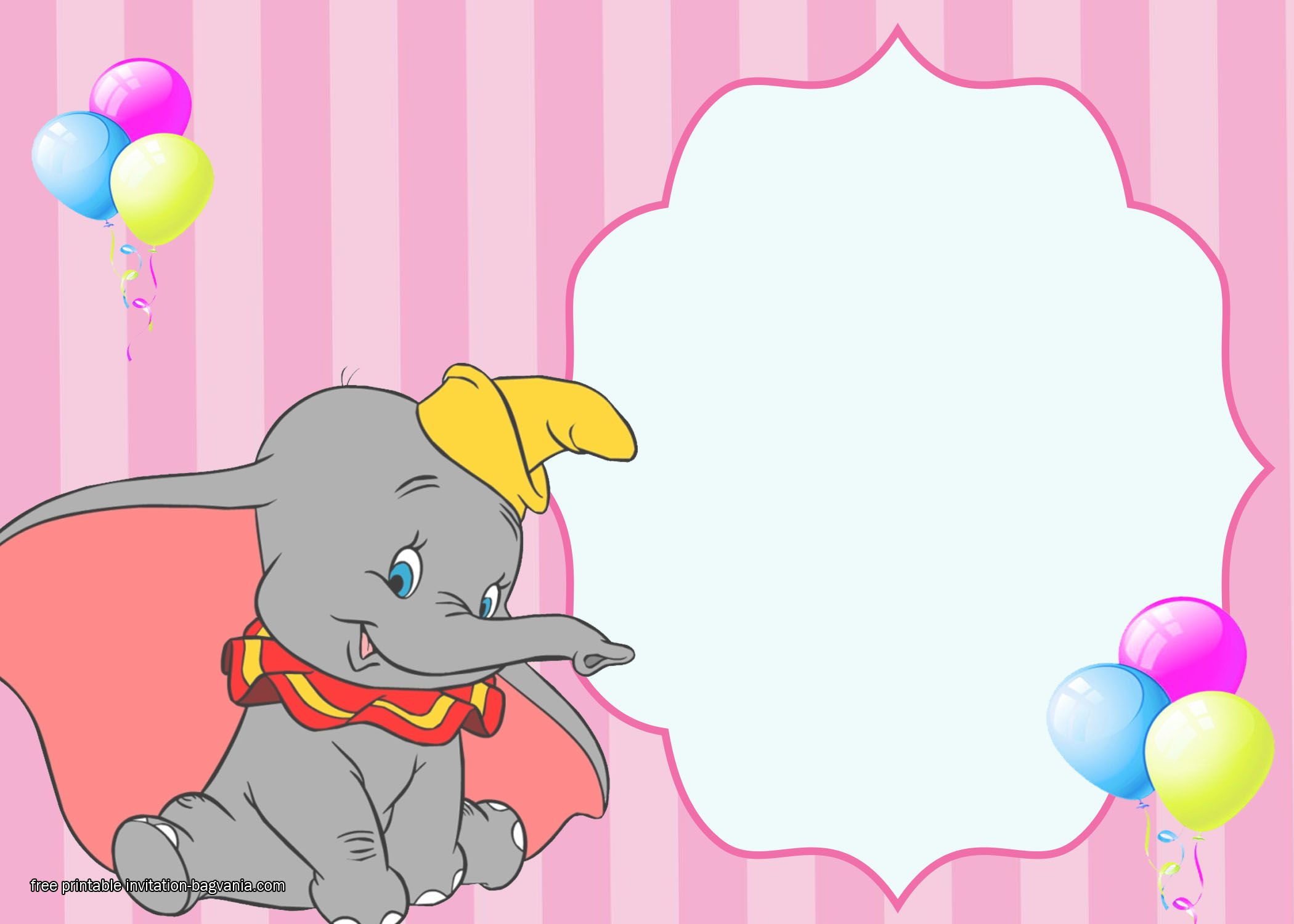 PRINTED Sweet Dumbo Invitations
