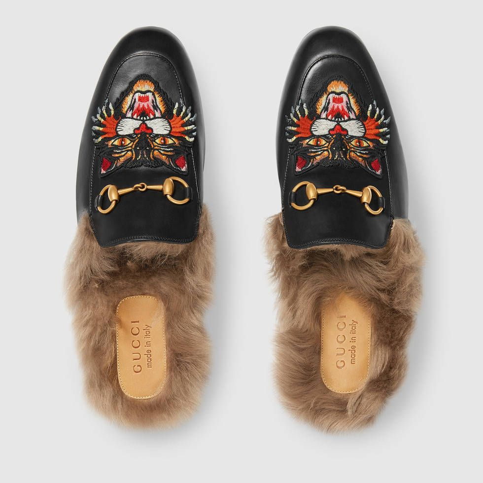 b45d7a1a574a Gucci Princetown slipper with Angry Cat appliqué Detail 3