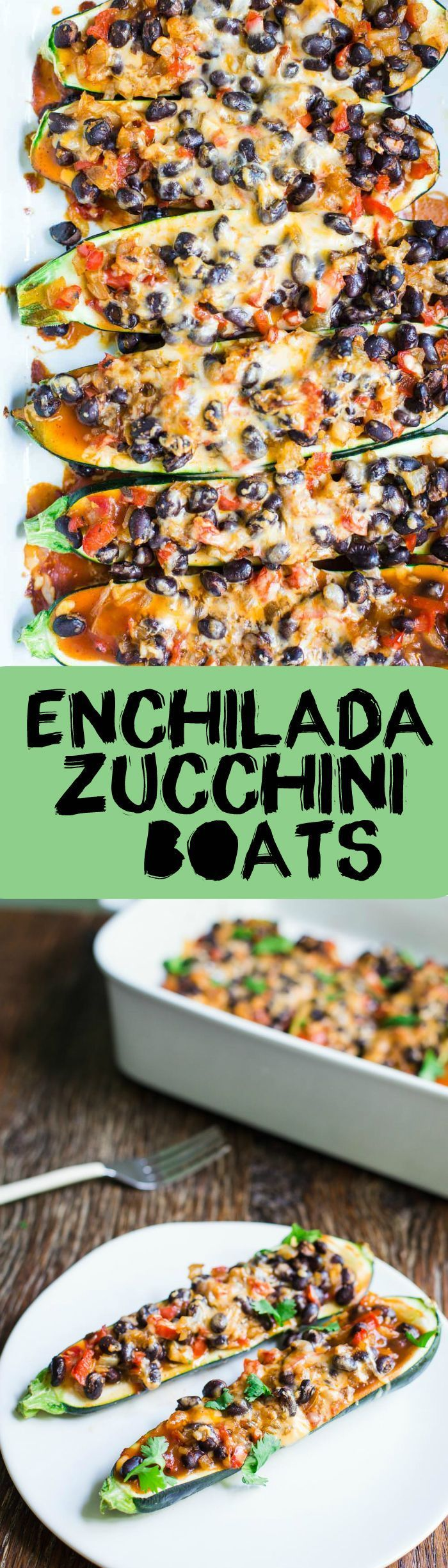 Enchilada Zucchini Boats- this recipe is VEGAN, vegetarian, gluten free, and super easy to make. Perfect for the summer when zucchini is everywhere!