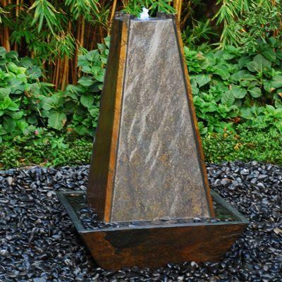 Pyramid Slate Fountain Garden Outdoor Water Anese Style Inc