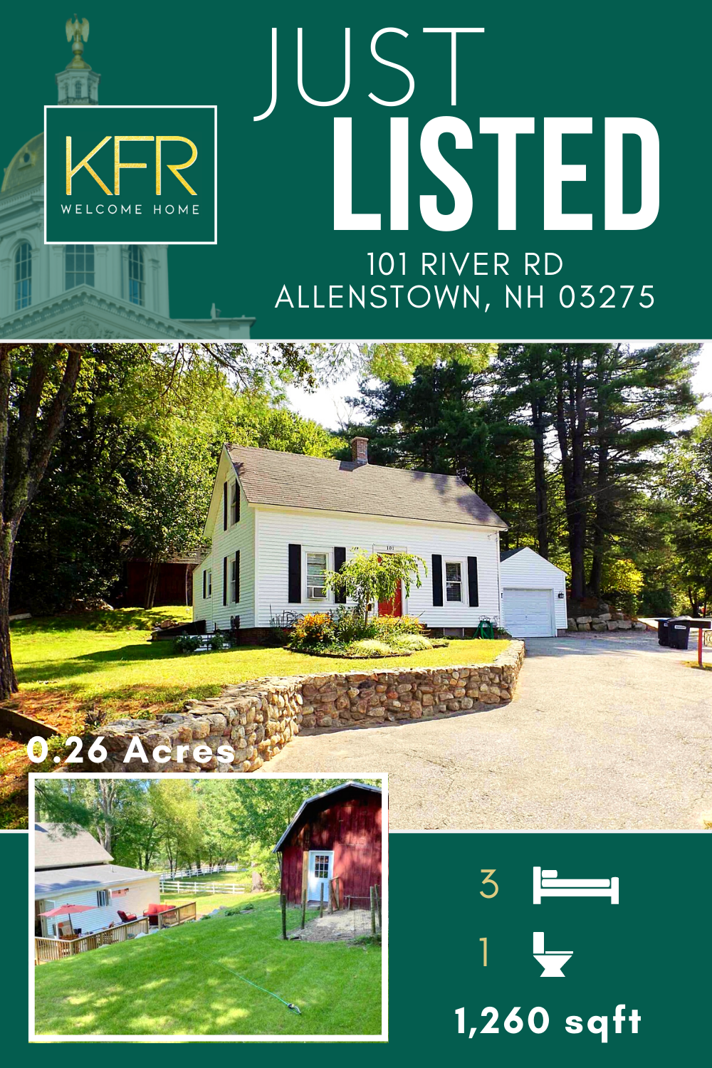 This charming cape has so many amazing features, there's too many to list! Head to our website to see more information about this home! #newhampshire #realestate #home #capehouse #capehome #justlisted #realtors