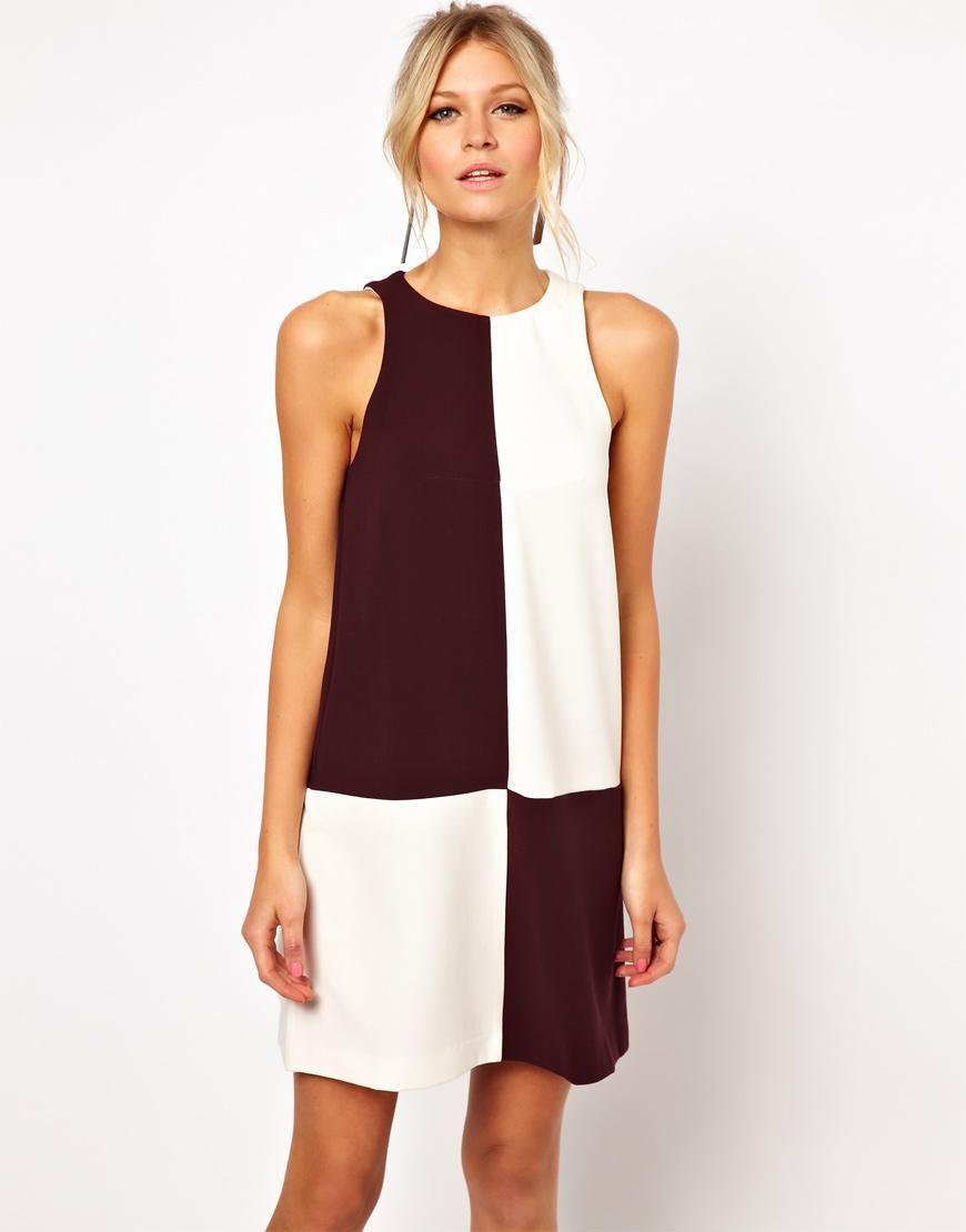 ASOS | ASOS Shift Dress In Block Monochrome Print at ASOS