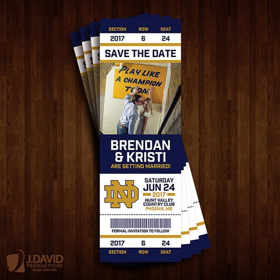 Notre Dame Save The Date Ticket Wedding Saving Save The Date