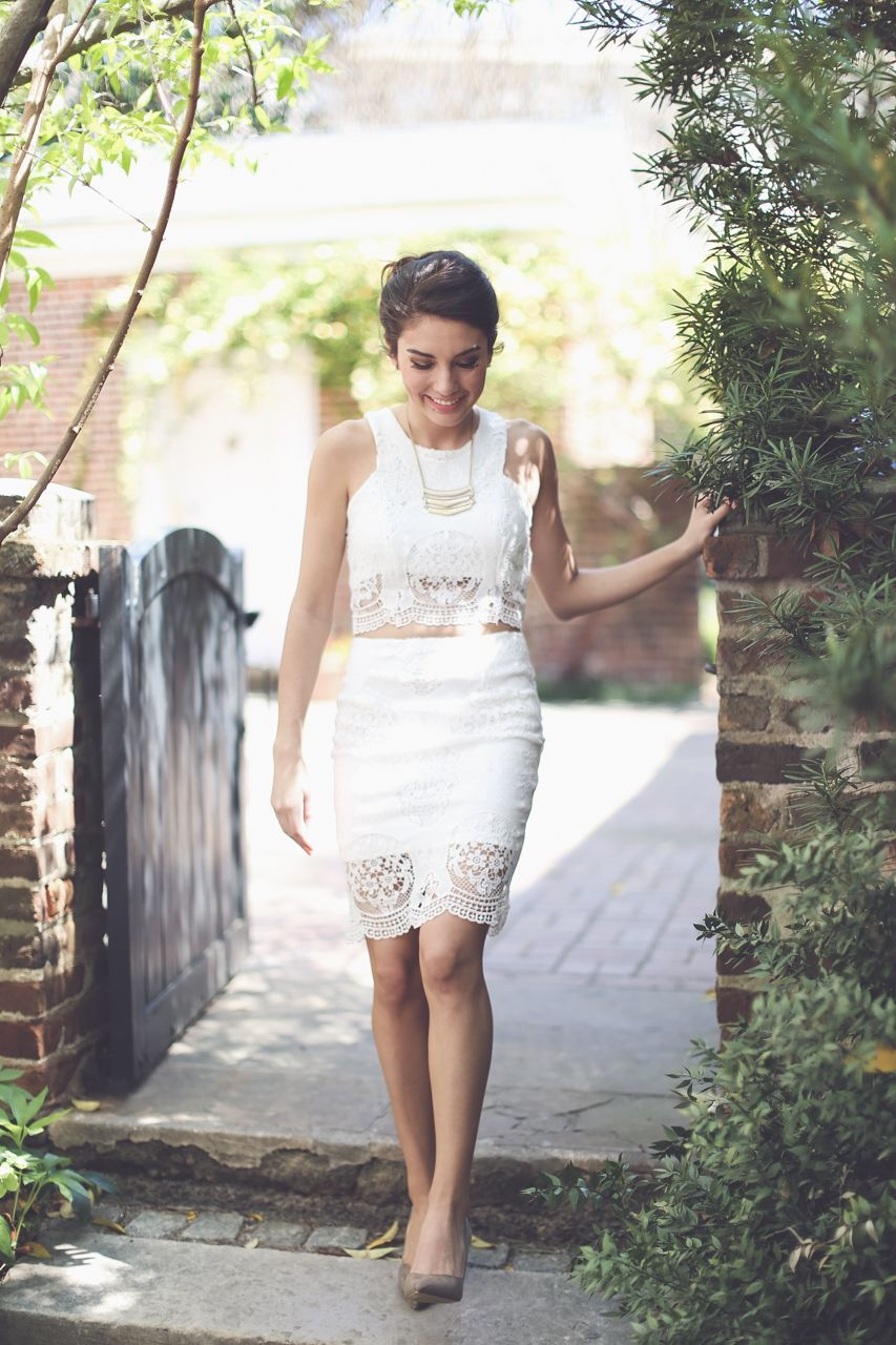 Wow! There is no doubt that you will turn heads in this little number! Our BRAND NEW ivory lace pencil skirt and matching crop top is STUNNING! Get the complete set for under $60! #wedding #bridal #shopentourage