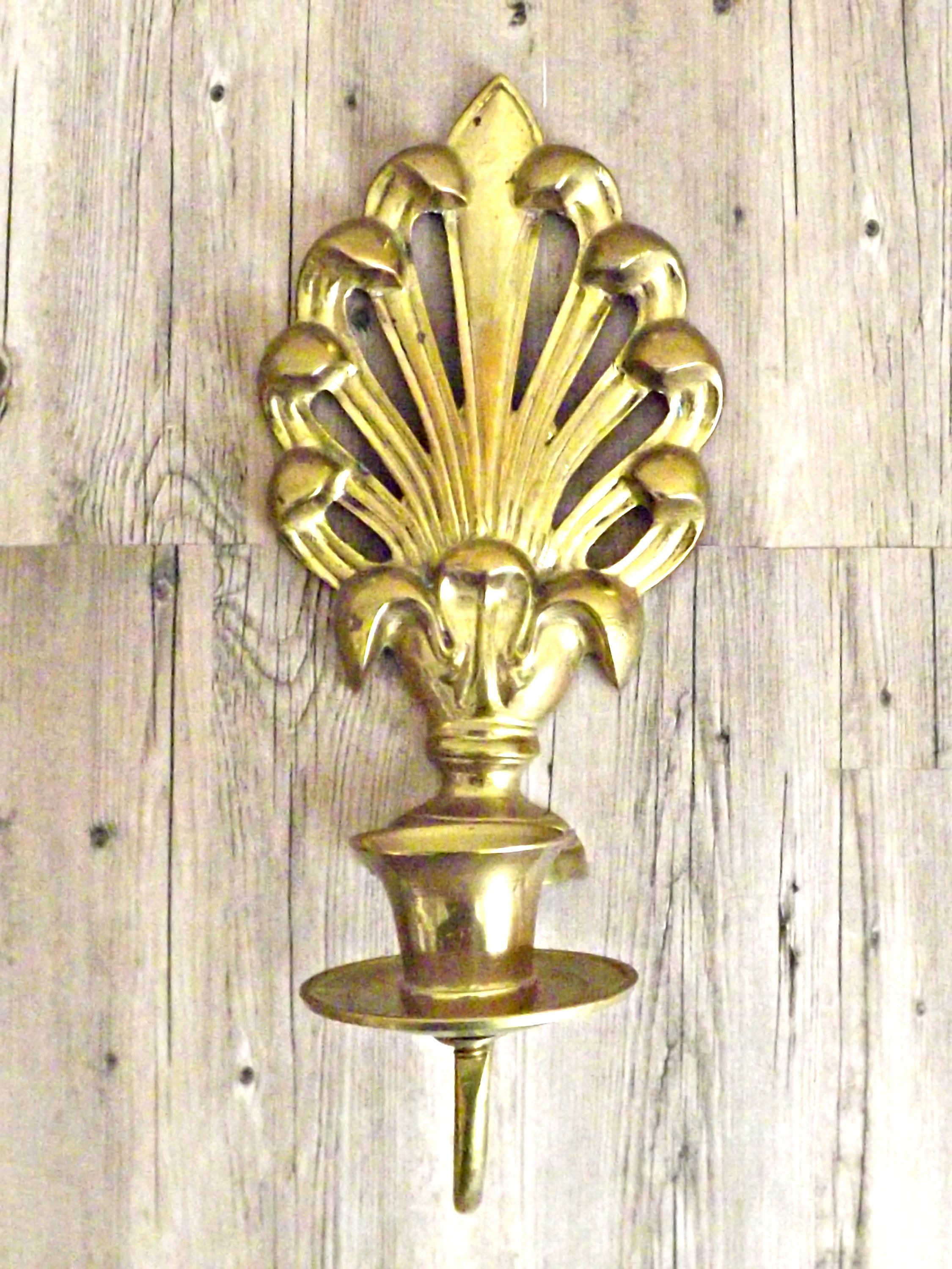 Solid Brass Wall Sconce, Fleur De Lis, Candle Wall Sconce, Hollywood ...
