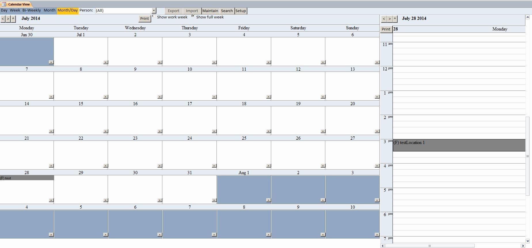 Microsoft Access Schedule Template Inspirational Enhanced Calendar Scheduling Database Template Schedule Template Student Schedule Templates