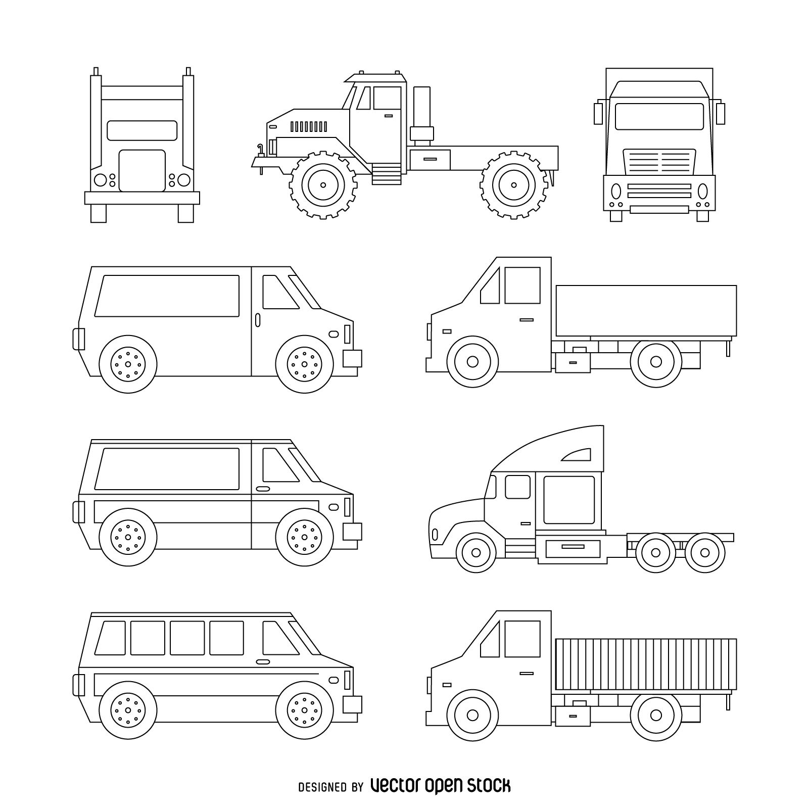 Set of truck illustrations featuring different types of trucks and vehicles. Isolated outline designs in black lines.